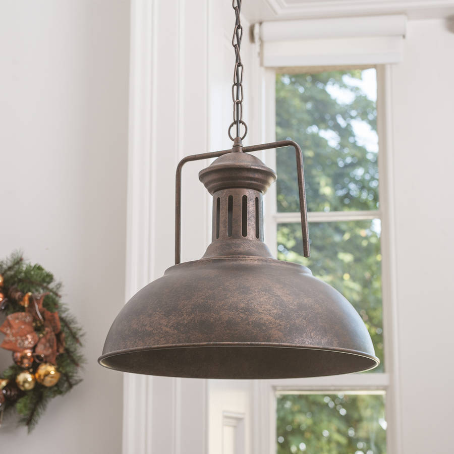 Grand Industrial Distressed Brown Ceiling Light By Country