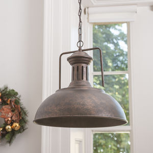 Grand Industrial Distressed Brown Ceiling Light - lamp bases & shades