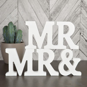 'Mr And Mr' White Wooden Sign - view all