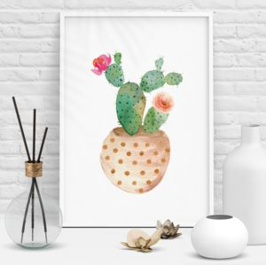 Decorative Potted Cactus Illustration Print - still life
