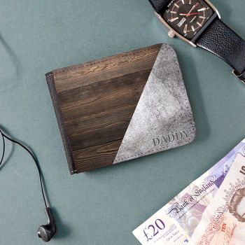 Personalised Wood And Concrete Effect Wallet