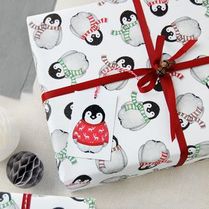 Baby Penguin Christmas Wrapping Paper Set - ribbon & wrap