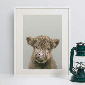 Nursery Decor Highland Cow Calf Animal Print - animals & wildlife