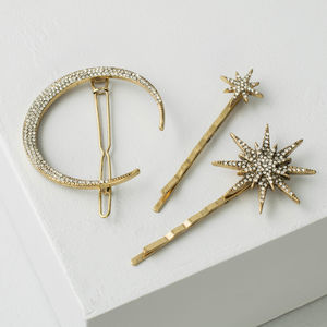 Star And Crescent Moon Hair Slides