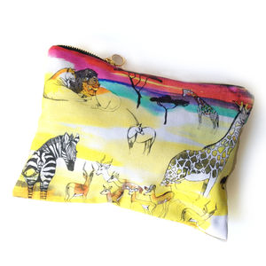 Africa Print Cotton Bag - make-up & wash bags