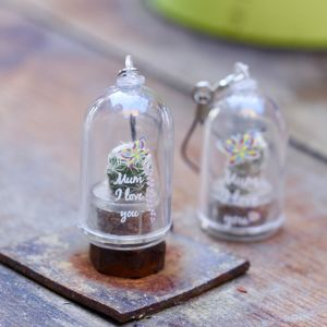 Personalised Mini Terrarium Cactus Keychain - token gifts