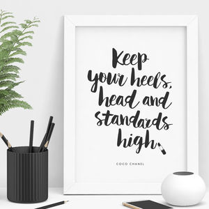 Coco Chanel Keep Your Heels High Typography Print - summer sale