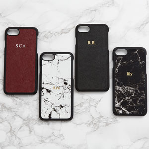 Personalised Marble Leather iPhone Case