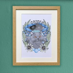 Cancer Cat Star Sign Zodiac Print - drawings & illustrations