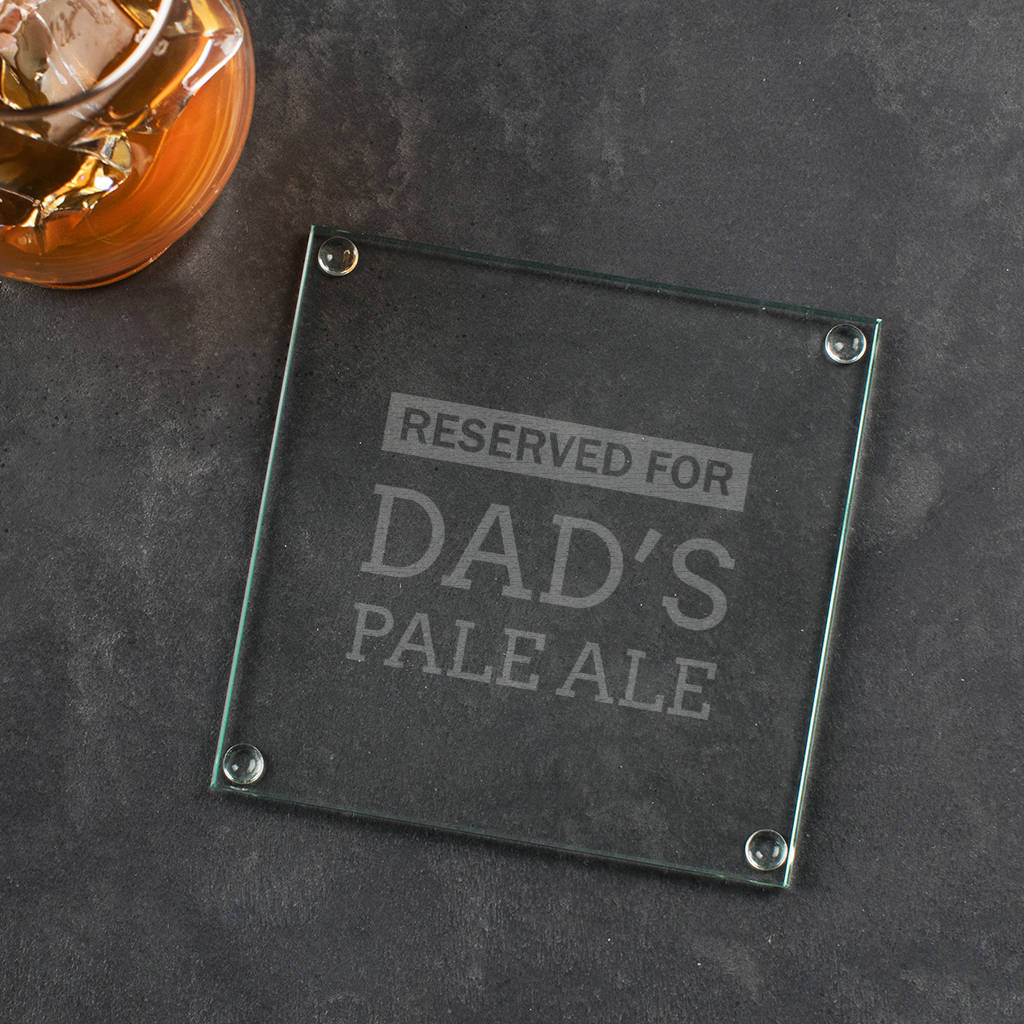 Personalised Dad Engraved Glass Coaster