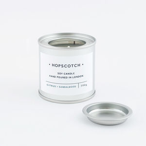 Citrus And Sandalwood Scented Tin Soy Candle