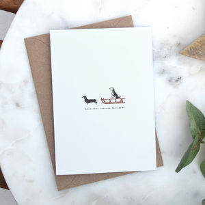 Dachshund Through The Snow Christmas Card - christmas card packs