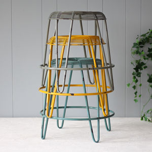 Industrial Metal Ochre, Blue, Grey Stools