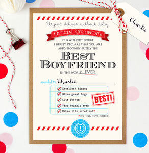 Personalised Best Boyfriend Certificate