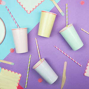 Pastel And Neon Edge Highball Cups