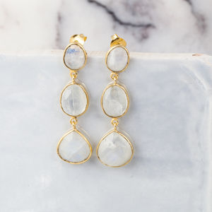 Gemstone Trio Drop Earrings