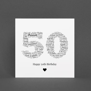 Personalised 50th Birthday Gift Print