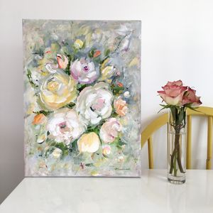 Contemporary Floral Abstract Colourful Roses Canvas