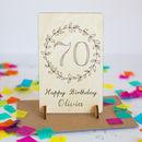 Wooden 70th Birthday Card