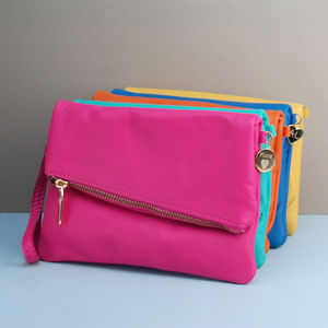 Personalised Leather Zip Clutch - bags