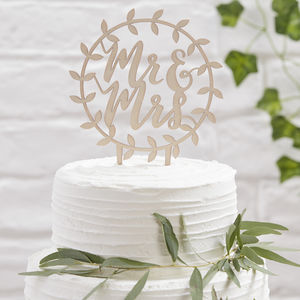 Wooden Mr And Mrs Vine Design Wedding Cake Topper