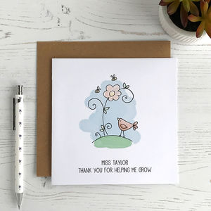 Thank You Helping Me Grow, Personalised Teacher Card