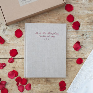 Personalised Linen Wedding Album - albums & guest books