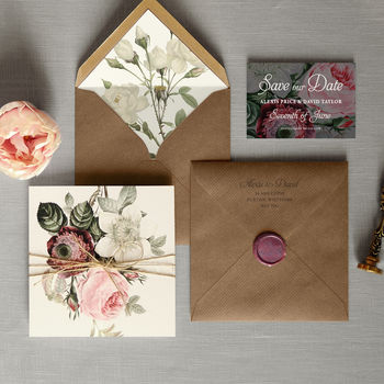 English Garden Folding Wedding Invitation