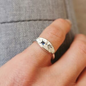 Personalised Universe Birthstone Couple Ring