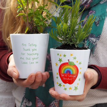 Rainbow Apple Personalised Teacher Plant Pot Gift