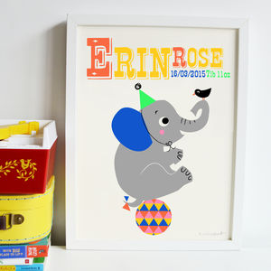 Personalised Circus Elephant Nursery Name Print