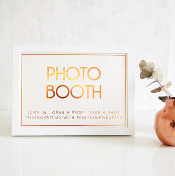 Rose Gold Copper Wedding Sign Photo Booth