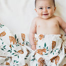 Slow Living Sloth Pattern Muslin Swaddle