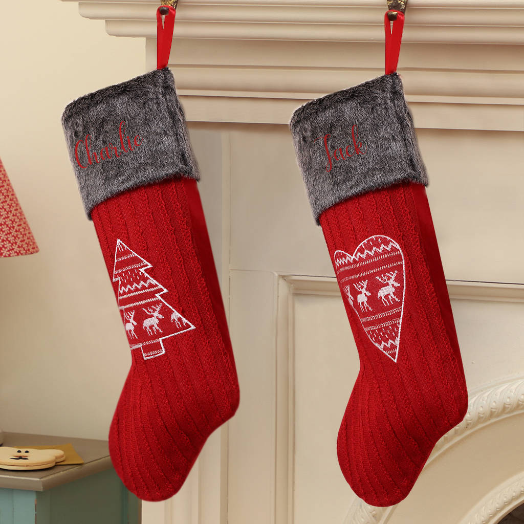 personalised nordic knitted christmas stockings by dibor ...