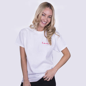 'Love' Neon Sign Embroidered Unisex T Shirt
