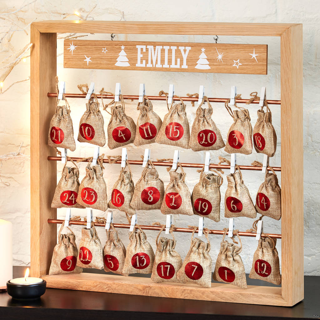 personalised wooden christmas advent calendar - Wooden Christmas Advent Calendar