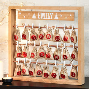 Christmas Advent Calendar With Metallic Hanging Sacks