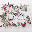Cone And Red Berry Christmas Garland