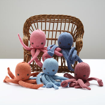Hand Knitted Octopus Soft Toys In Organic Cotton