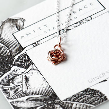 English Rose Necklace In Rose Gold