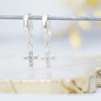 Huggie Hoop Earrings With Cross Earring Charm