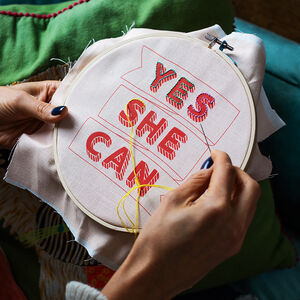 'Yes She Can' Embroidery Hoop Kit