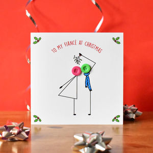 'To My Fiancé At Christmas' Button Card