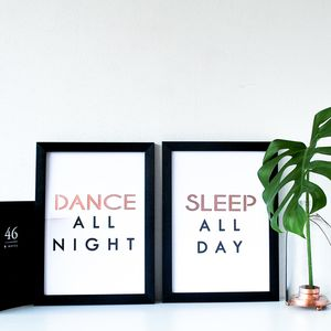 Dance All Night, Sleep All Day Print Set - art & pictures