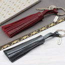 Personalised Luxury Nappa Leather Tassel Key Ring