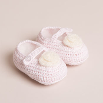 Hand Crochet Pink Baby Mary Jane Shoes
