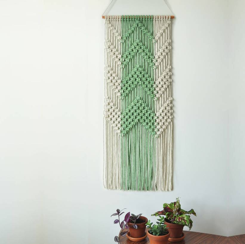 Colour Block Chevron Macrame Wall Hanging