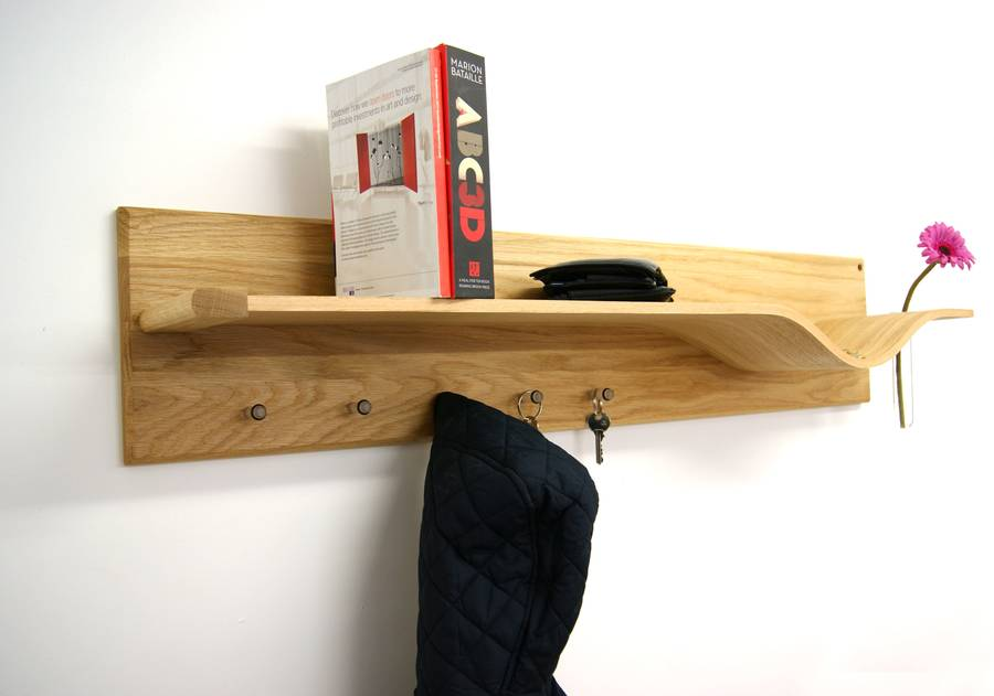 Curved Oak Shelf With Hooks