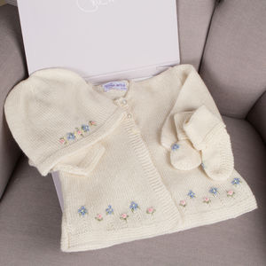 Hand Knitted Cashmere Forget Me Not Cardigan Set - jumpers & cardigans