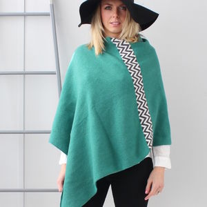 Jade Green Knitted Lambswool Poncho